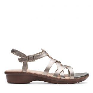 Clarks Womens Loomis Katey Pewter Metallic Leather Sandals